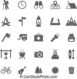 trekking, icônes, blanc, fond