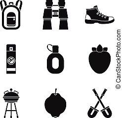 trekking, icônes, ensemble, simple, style