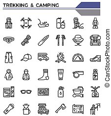 trekking, icona, set., campeggio