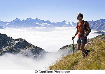 trekking, in, alperna