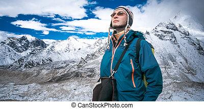 trekking, in, himalaya, mountains