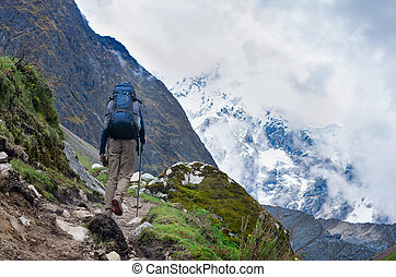 trekking in mountains, Peru, South America