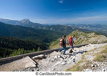 trekking, in, mountains
