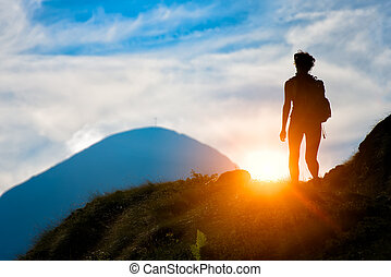 trekking, in, silhuett