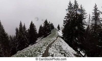 Trekking in Switzerland Alps mountains at spring on a snow...