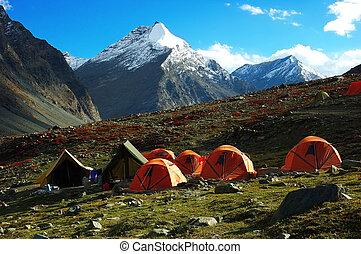 trekking, läger