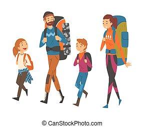 trekking, leur, randonnée, aventures, voyager, mère, fils, père, ensemble, famille, actif, heureux, nature, illustration, sacs dos, fille, vecteur, récréation