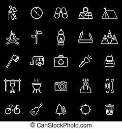trekking, ligne, icônes, sur, arrière-plan noir
