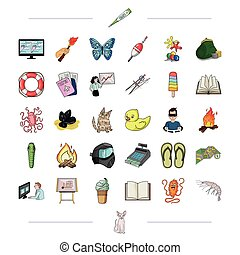 trekking, medicine, education and other web icon in cartoon style.ecology, business, tourism icons in set collection.