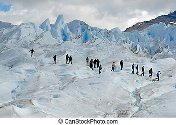 Trekking on Perito Moreno glacier, Argentina. Glaciares ...
