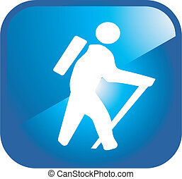 Trekking people icon