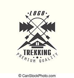 trekking, premie, kwaliteit, logo, ontwerp, ouderwetse , zwart wit, berg, exploratie, buitene avontuur, symbool, vector, illustratie, op, een, witte achtergrond
