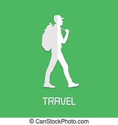 trekking, randonnée, concept, vecteur, illustration, logo