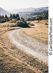 Trekking road in Pieniny Mountains Range in Poland