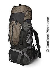 trekking, ryggsäck, isolerat
