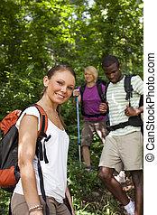 trekking, ryggsäck, ved, folk