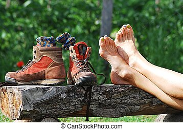 trekking break with shoes off