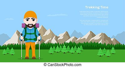 trekking, temps, concept, bannière