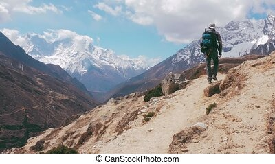 Trekking To Everest Base Camp, way back to Lukla. 4K UHD...