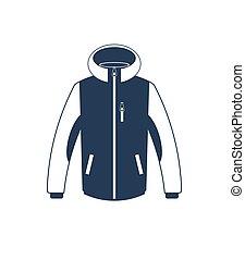 Trekking winter jacket isolated vector icon. Outdoor...