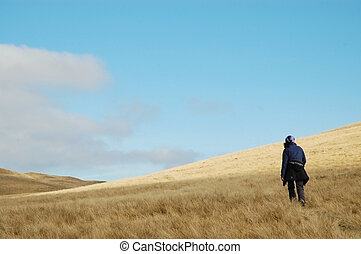 Trekking woman in the mountains
