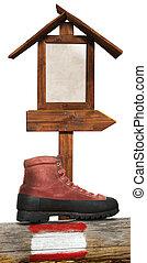 Trekking - Wooden Directional Sign - Empty wooden...