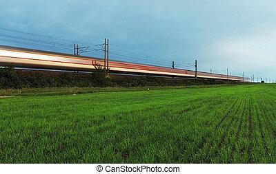 trem, -, alta velocidade, rail.