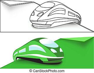 trem alta velocidade, verde