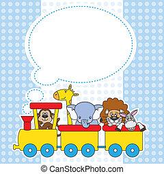 trem, animais, crianças