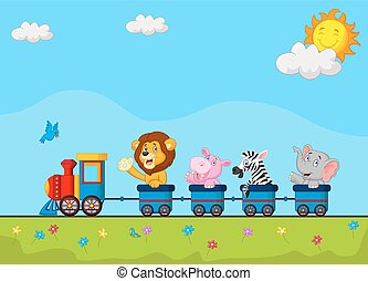 trem, animais