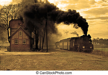 trem, antigas, retro, vapor
