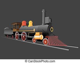 trem, antigas, vapor, ilustração