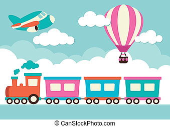 trem, balloon, avião, ar quente