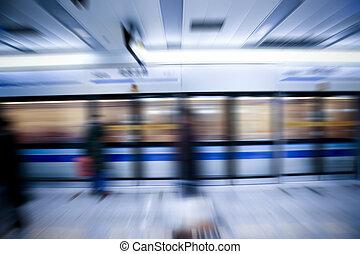 trem, borrão moção
