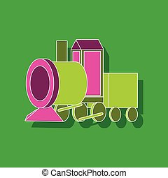 trem brinquedo, papel, fundo, elegante, adesivo