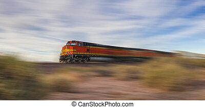 trem carga, em, alta velocidade