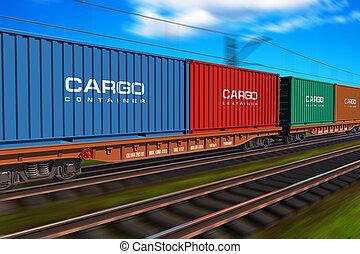 trem carga, frete, recipientes