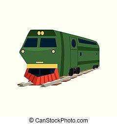 trem carga, ilustração, vetorial, verde, estrada ferro, locomotiva