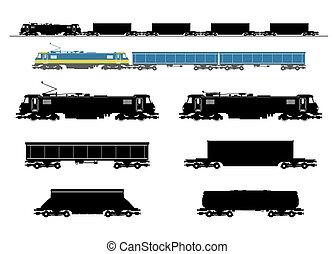 trem carga, silhouette.