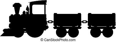 trem carga, silueta