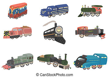 trem, caricatura, ícone