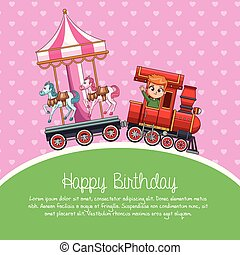 trem, caricatura, aniversário, feliz
