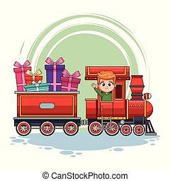trem, caricatura, crianças