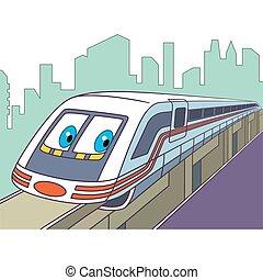 trem, caricatura, elétrico