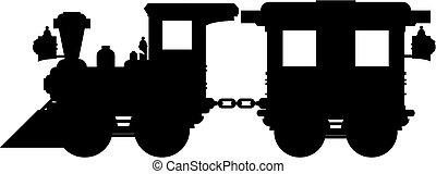 trem, &, carruagem, silueta