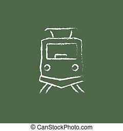 trem, chalk., frente, desenhado, ícone, vista