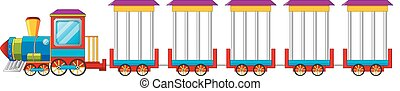 trem, circo, costas, branca, isolado