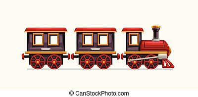 trem, coloridos, caricatura, branca