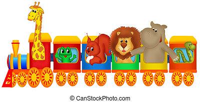 trem, com, animais