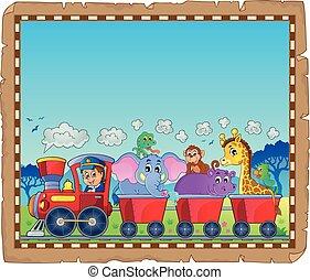 trem, com, animais, tema, pergaminho, 1